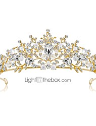 cheap -Women's Tiaras For Wedding Party Flower Homecoming Royalty Beaded Cubic Zirconia Rhinestone Gold Plated Alloy Blushing Pink White