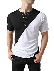 cheap -Men's Daily Holiday Street chic / Punk & Gothic T-shirt - Color Block Round Neck Black / Short Sleeve