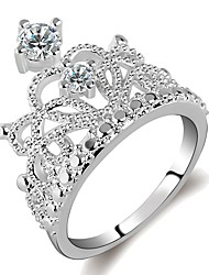 cheap -Women's Ring Princess Crown Ring 1pc Silver Brass Platinum Plated Imitation Diamond Ladies Elegant Fashion Daily Work Jewelry Stylish Hollow Crown Faith Cool