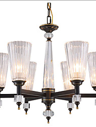 cheap -QIHengZhaoMing 6-Light 65 cm Chandelier Metal Glass Antique Brass Modern 110-120V / 220-240V