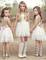 cheap -Kids Girls' Active Sweet Holiday Going out Solid Colored Lace Backless Sequins Sleeveless Knee-length Dress Gold / Cut Out / Bow / Mesh / Lace up