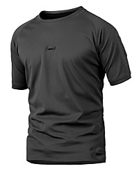 cheap -Men's Camo Hiking Tee shirt Short Sleeve Outdoor Breathable Quick Dry Wear Resistance Tee / T-shirt Top Summer Polyester Crew Neck Camping / Hiking Hunting Outdoor Exercise Khaki Black