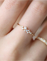 cheap -Women's Band Ring 1pc Gold 18K Gold Plated Copper Rhinestone Circle Geometric Ladies Unique Design Classic Daily Work Jewelry Classic Stylish Creative Lovely