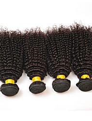 cheap -4 Bundles Indian Hair Kinky Curly Human Hair Unprocessed Human Hair Natural Color Hair Weaves / Hair Bulk Bundle Hair One Pack Solution 8-28 inch Natural Color Human Hair Weaves Hot Sale Fashion Thick