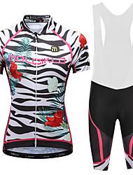 cheap -Malciklo Women's Cycling Jersey with Bib Shorts - White / Black Plus Size Bike Bib Shorts Jersey Quick Dry Anatomic Design Reflective Strips Sports Lycra Floral / Botanical Mountain Bike MTB Road
