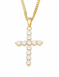 cheap -Men's Cubic Zirconia Pendant Necklace Chain Necklace Classic Cuban Link Cross Faith Classic European Hip-Hop Copper Rhinestone Gold Silver 60 cm Necklace Jewelry 1pc For Gift Street