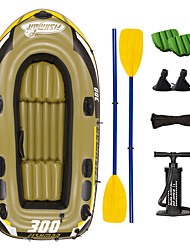 cheap -JiLong 3-4 Persons Inflatable Boat Set with Hand Air Pump Air Pad French Oars PVC Portable Folding Fishing Boating 252*125*40 cm
