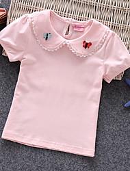 Недорогие -Дети (1-4 лет) Девочки Классический Повседневные Однотонный Цветочный принт С короткими рукавами Обычный Футболка Белый