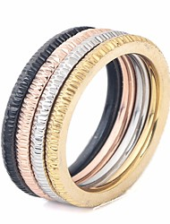 cheap -Couple's Ring Set Multi Finger Ring 1pc Rainbow Titanium Steel Round Ladies Stylish Simple Street Club Jewelry Stylish Stack Matching Creative Cool