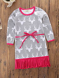 cheap -Baby Girls' Vintage / Active Daily / Holiday Print Tassel / Print Long Sleeve Above Knee / 50-60 cm Dress Gray / Toddler