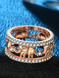 cheap -Women's Band Ring Ring Eternity Band Ring 1pc Gold Rose Gold 18K Gold Plated Copper Rose Gold Plated Ladies Vintage Hyperbole Wedding Carnival Jewelry Stylish Hollow Out Elephant Cool