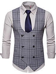 cheap -Men's Daily / Work Business / Basic Fall / Winter Plus Size Regular Vest, Plaid V Neck Sleeveless Cotton / Polyester Dark Gray / Khaki / Light gray / Business Casual / Slim