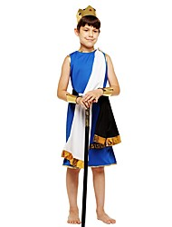 cheap -King Costume Boys' Kids Halloween Halloween Carnival Children's Day Festival / Holiday Polyster Outfits Ink Blue Solid Colored Halloween