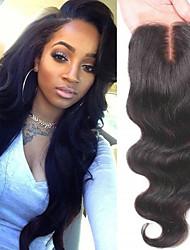 cheap -Brazilian Hair 4x4 Closure Wavy Swiss Lace Human Hair Women's Best Quality / Hot Sale / 100% Virgin Christmas / Christmas Gifts / Wedding