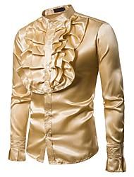 Недорогие -Муж. Для вечеринок / Для клуба Оборки Рубашка Воротник-стойка Винтаж / Классический Однотонный Желтый / Длинный рукав