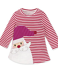 cheap -Kids Girls' Vintage Sweet Holiday Going out Striped Layered Short Sleeve Knee-length Dress Red / Cotton