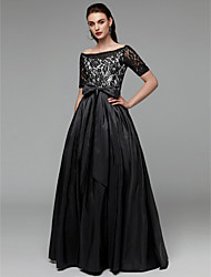 cheap -A-Line Boat Neck Floor Length Lace / Taffeta Elegant Formal Evening / Black Tie Gala Dress 2020 with Bow(s) / Sash / Ribbon
