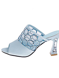 cheap -Women's Sandals Mesh Chunky Heel PU Comfort / Basic Pump Summer Blue / White