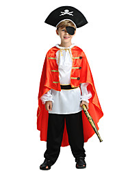 cheap -Pirate Costume Kid's Boys' Halloween Halloween Carnival Children's Day Festival / Holiday Polyster Black Carnival Costumes Solid Colored Halloween