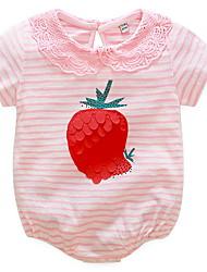 cheap -Baby Girls' Basic Daily Striped Printing Short Sleeves Cotton Bodysuit Blushing Pink