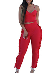 cheap -Women's Going out Beach Basic Cotton Slim Short Tank Top - Solid Colored, Ruffle Pant Strap / Summer / Sexy