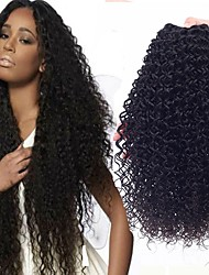 cheap -3 Bundles Brazilian Hair Curly Human Hair Natural Color Hair Weaves / Hair Bulk Extension 8-28 inch Black Natural Color Human Hair Weaves Hot Sale 100% Virgin curling Human Hair Extensions / 8A