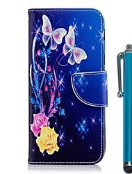 Недорогие -Кейс для Назначение Nokia Nokia 8 / Nokia 6 2018 / Nokia 5.1 Кошелек / Бумажник для карт / со стендом Чехол Бабочка / Цветы Твердый Кожа PU