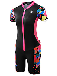 cheap -Malciklo Women's Short Sleeve Triathlon Tri Suit Green Black / Pink Orange Plus Size Bike Breathable Quick Dry Anatomic Design Ultraviolet Resistant Reflective Strips Sports Polyester Spandex Coolmax®