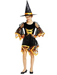 cheap -Witch Costume Girls' Kid's Halloween Halloween Carnival Children's Day Festival / Holiday Polyster Outfits Black Solid Colored Halloween