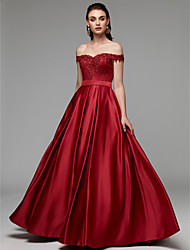 cheap -A-Line Luxurious Red Prom Formal Evening Dress Off Shoulder Sleeveless Floor Length Lace Satin with Beading Appliques 2020