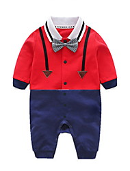 cheap -Baby Boys' Active Daily Patchwork Patchwork Long Sleeve Cotton Romper White / Toddler