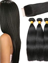 Недорогие -3 комплекта с закрытием Индийские волосы Прямой Натуральные волосы Волосы Уток с закрытием 8-24 дюймовый Черный Естественный цвет Ткет человеческих волос Натуральный Лучшее качество Горячая распродажа