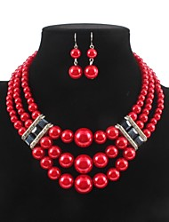 cheap -Women's Drop Earrings Necklace Layered Ladies Stylish Classic Imitation Pearl Rhinestone Earrings Jewelry White / Red For Daily
