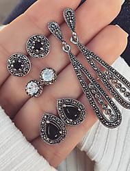 cheap -Women's Crystal Stud Earrings Drop Earrings Earrings Set Vintage Style Marcasite Drop Ball Ladies Bohemian Punk Fashion Earrings Jewelry Silver For Party / Evening Club 4 Pairs
