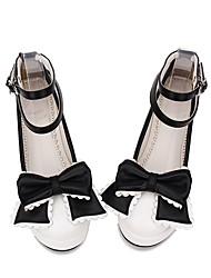 cheap -Women's Lolita Shoes Princess Lolita Creepers Shoes Color Block Stitching Lace Bowknot 5 cm White PU(Polyurethane) Halloween Costumes