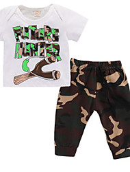 cheap -Baby Boys' Active Going out Print Short Sleeve Short Short Cotton Clothing Set White / Toddler