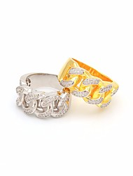 cheap -Men's Ring AAA Cubic Zirconia 1pc Gold Silver Copper Circle Trendy Hyperbole Hip-Hop Street Club Jewelry Braided Creative Inspire Cool
