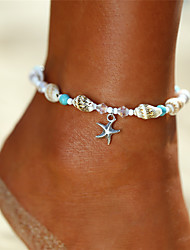 cheap -Anklet Ankle Bracelet Ladies Bohemian Bikini Women's Body Jewelry For Gift Holiday Beads Yoga Turquoise Acrylic Alloy Starfish Shell Silver 1pc