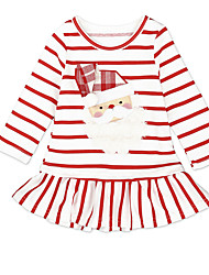 cheap -Kids Girls' Vintage Sweet Christmas Holiday Going out Striped Christmas Layered Long Sleeve Knee-length Dress Red / Cotton