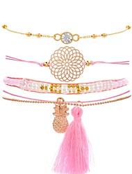 cheap -4pcs Women's Cubic Zirconia Chain Bracelet Tassel Pineapple Ladies Vintage Fashion Elegant Resin Bracelet Jewelry Gold For Gift Birthday