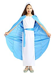 cheap -Missionary Costume Girls' Kids Halloween Halloween Carnival Children's Day Festival / Holiday Polyster Outfits White Solid Colored Halloween