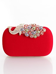 cheap -Women's Bags Polyester Satin Evening Bag Buttons Crystals Embroidery Floral Print Rhinestone Crystal Evening Bags Wedding Party Event / Party Black Blue Purple Red