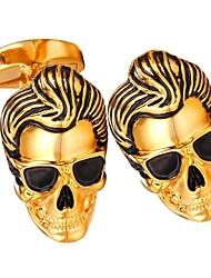 abordables -Boutons de manchettes Crâne Tete de Mort Grande occasion Broche Bijoux Argent Doré Pour Cadeau Quotidien