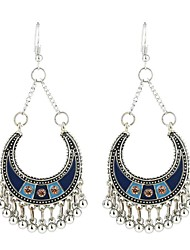 cheap -Women's Drop Earrings Long Candy Ladies Asian Vintage Ethnic Fashion Earrings Jewelry Black / Rainbow / Blue For Party / Evening Going out 1 Pair