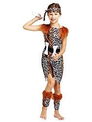 cheap -Primitive Costume Flower Girl Dress Kids Girls' A-Line Slip Halloween Halloween Carnival Children's Day Festival / Holiday Polyster Brown Carnival Costumes Solid Colored Halloween / Leotard / Onesie