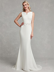 cheap -Sheath / Column Wedding Dresses V Neck Sweep / Brush Train Satin Regular Straps Simple Plus Size with Appliques 2020