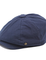 cheap -Men's Vintage Work Cotton Polyester Beret Hat-Solid Colored Fall Winter Orange Navy Blue Gray