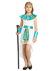 cheap -Pharaoh Costume Girls' Kids Halloween Halloween Carnival Children's Day Festival / Holiday Polyster Outfits White Solid Colored Halloween