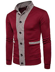 cheap -Men's Daily Color Block Long Sleeve Regular Cardigan Sweater Jumper, Stand Black / Wine / Dark Gray S / M / L