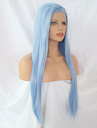 Недорогие -Синтетические кружевные передние парики Прямой Боковая часть Лента спереди Парик Длинные Светло-синий Искусственные волосы Жен. Регулируется Жаропрочная Синий